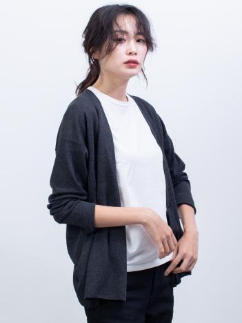 qualite - ハイゲージノーカラーニットジャケット