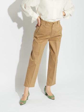 qualite - サテンストレッチベイカー風パンツ