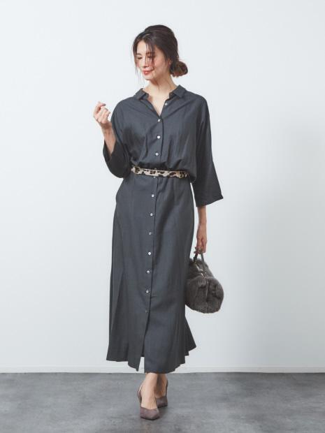 anana 7分袖シャツワンピース