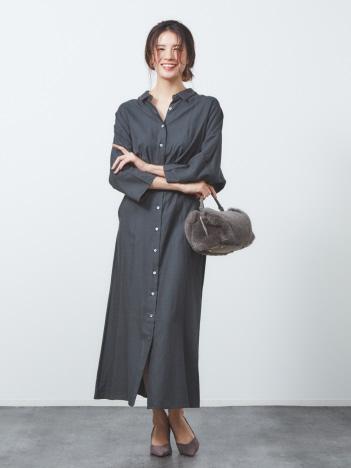 qualite - anana 7分袖シャツワンピース
