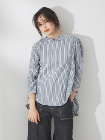 qualite - バックギャザーフレアシャツ