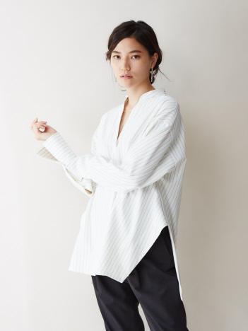 qualite - 【通勤・セットアップ】ストライプ2WAYストレッチシャツ(ストライプ)