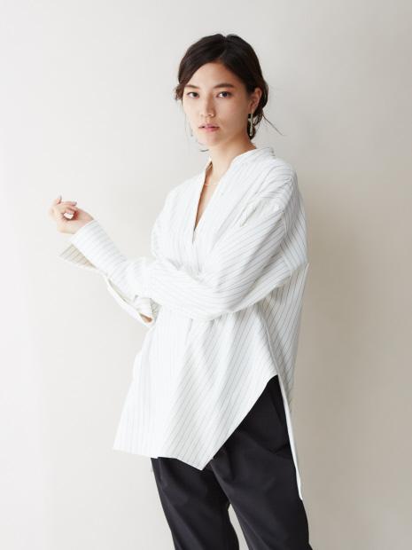 【通勤・セットアップ対応】ストライプ2WAYストレッチシャツ(ストライプ)