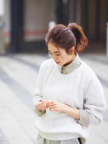 qualite - 【サーマル感覚で着られる!】コットンカノコニット