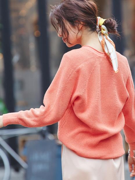 【サーマル感覚で着られる!】コットンカノコニット