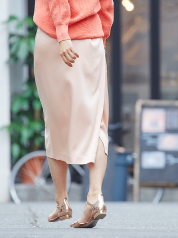 qualite - 【2020SS新作】ハンマーサテンタイトスカートパンツ