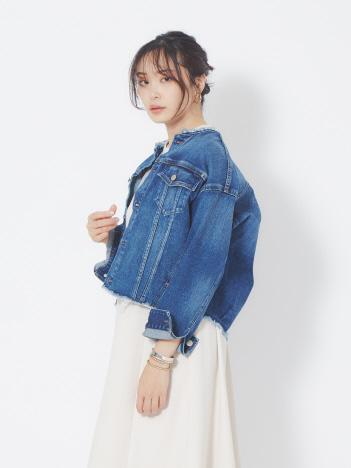 【HealthyDENIM】Mint ノーカラーデニムジャケット