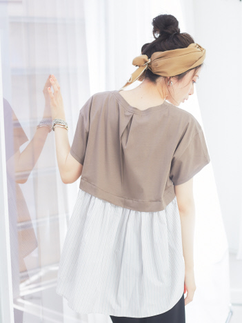 qualite - 【WEB限定】スリットネック布帛切り替えカットソー