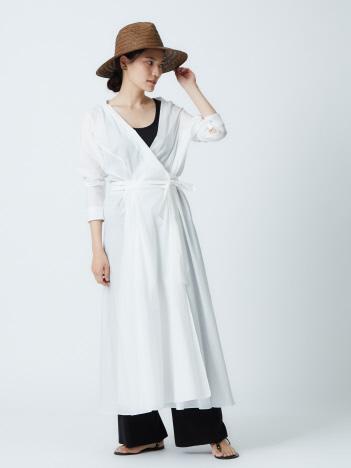 qualite - コットンカシュクールロングシャツドレス
