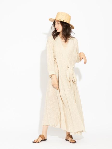 コットンカシュクールロングシャツドレス