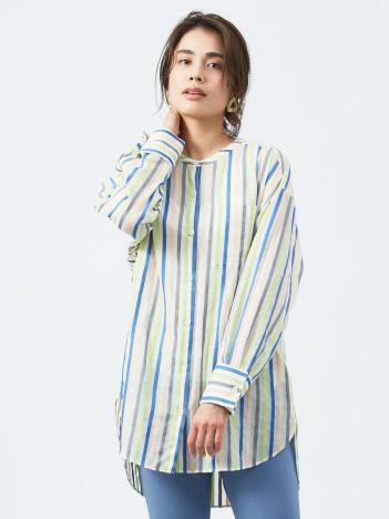 qualite - シアーマルチストライプシャツ【予約】