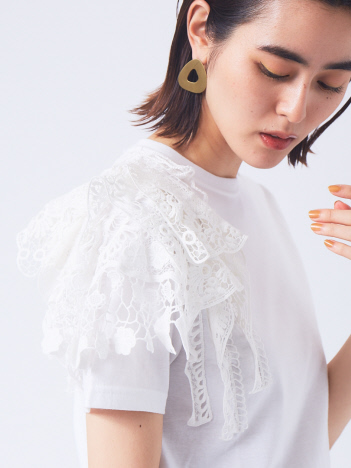 qualite - 【boussole×qualite別注】ショルダーレースTシャツ(コンパクト)