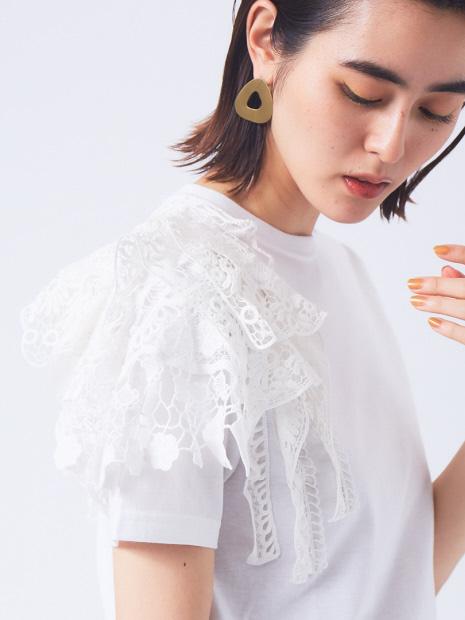 【boussole×qualite別注】ショルダーレースTシャツ(コンパクト)
