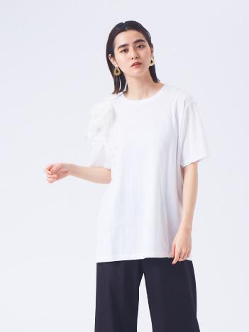 【boussole×qualite】ショルダーレースTシャツ(オーバーサイズ)