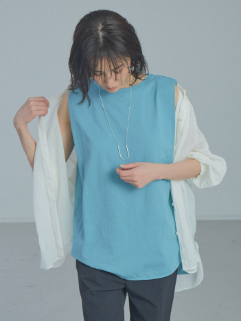 qualite - 【WEB・一部店舗限定】タックノースリーブ