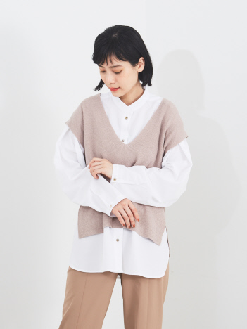 qualite - 【WEB・一部店舗限定】シャツセットニットベスト