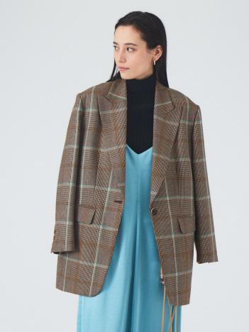 ウールチェックジャケットコート