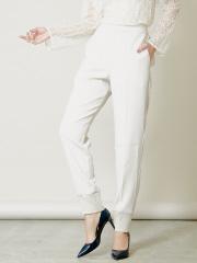 バックサテンジョーゼット裾リブパンツ