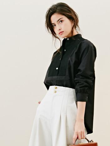 DESIGNWORKS (Ladie's) - フロントピケスタンドカラーシャツ