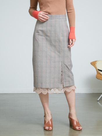 DESIGNWORKS (Ladie's) - グレンチェック裾レースタイトスカート