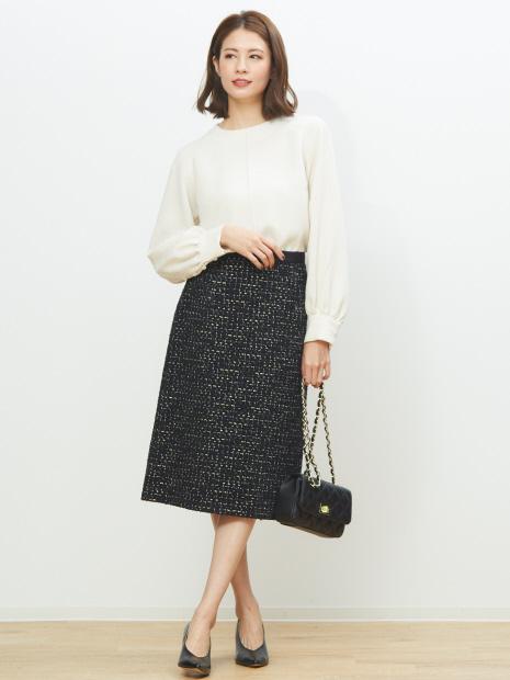 【セットアップ対応】モールラメツイードスカート