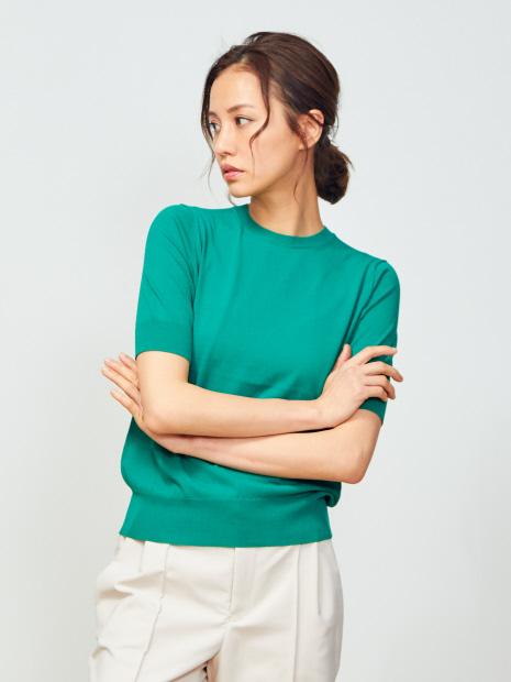 5分袖ニットプルオーバーTシャツ