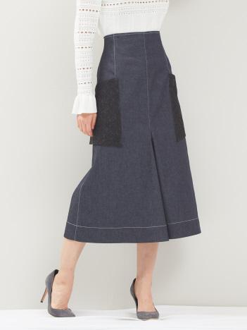 デニムレースポケットスカート