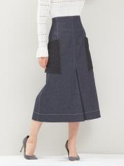 デザインワークス (レディース) デニムレースポケットスカート