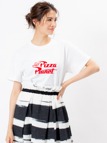 DESIGNWORKS (Ladie's) - PIZZA PLANET ロゴTシャツ  WHITE