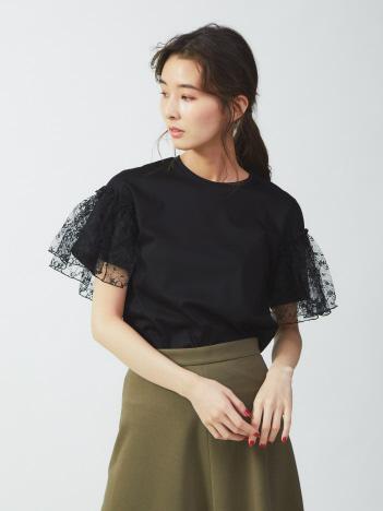 DESIGNWORKS (Ladie's) - 袖レースプルオーバーTシャツ