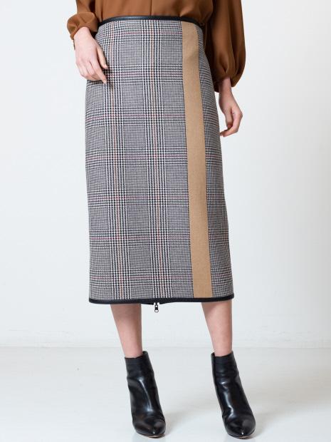 チェックボーダーリバーシブルタイトスカート