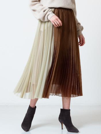 チュール×オーガンジープリーツスカート