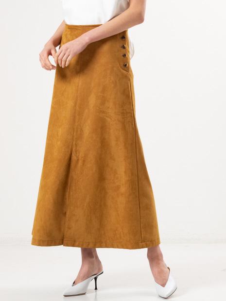 フェイクスエードロングスカート