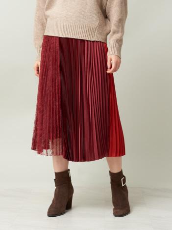 DESIGNWORKS (Ladie's) - サテン×レースプリーツスカート