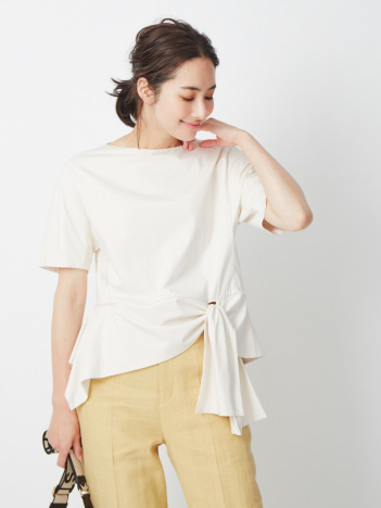 天竺裾フレア プルオーバーTシャツ