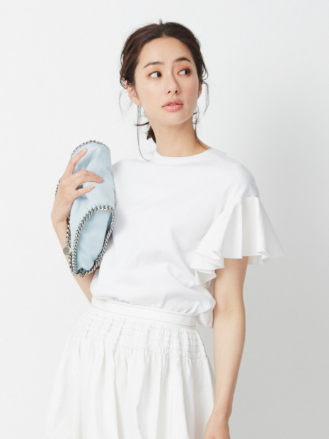 袖フリル2WAYニットTシャツ