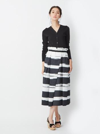 ジャカード ボーダープリントスカート