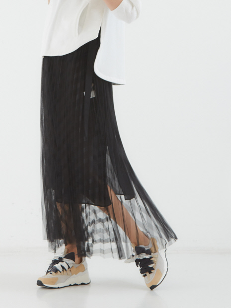ストライプチュールプリーツスカート