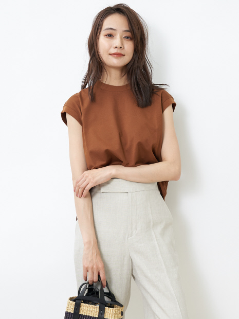 度詰め(40/2)天竺ノースリーブTシャツ