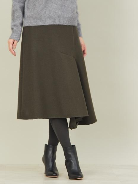 圧縮ウールアンシンメトリースカート