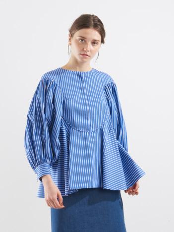 ストライプ袖プリーツシャツ