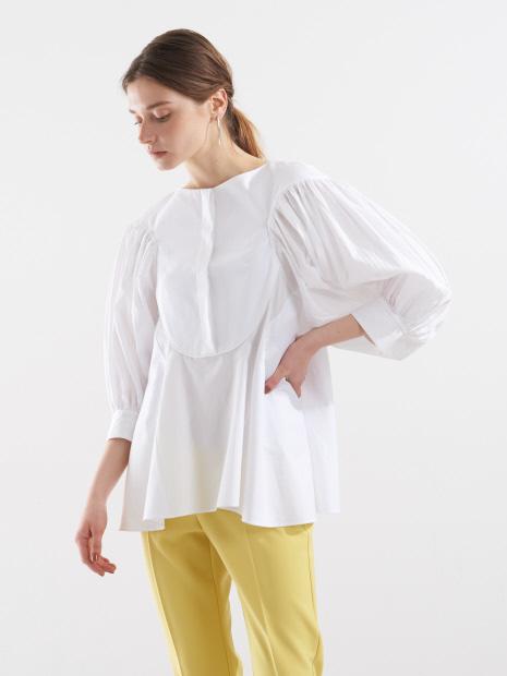 袖プリーツシャツ