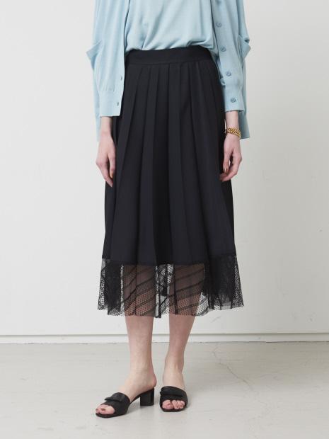 裾レース切替えプリーツスカート