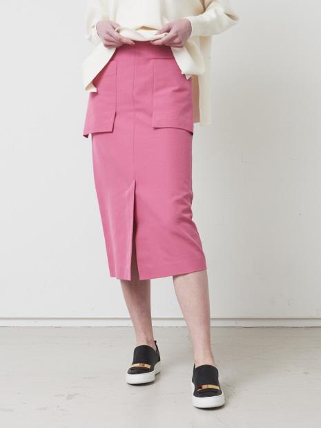 コットン二重織アウトポケットスカート