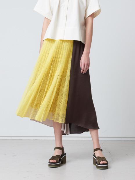 レース×サテン配色スカート
