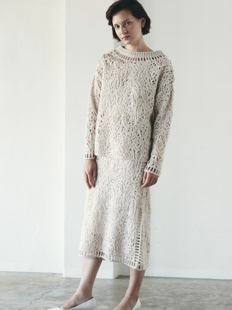 MARILYN MOON makurame knit pullover