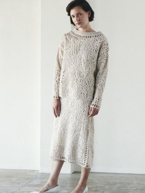 MARILYN MOON makurame knit skirt