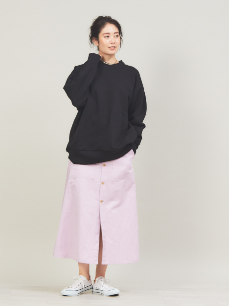 コットンラミーボタンフロントスカート