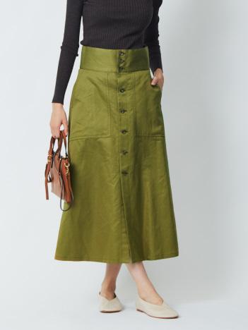 36 Quatre-Neuf - コットンラミーボタンフロントスカート