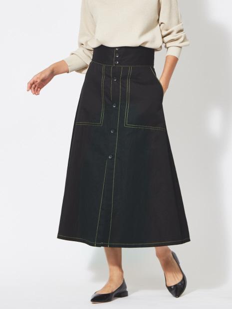 【20SS】コットンラミーボタンフロントスカート【予約】